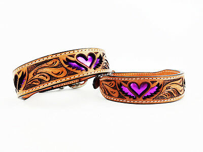 """8"""" PURPLE HEART WINGS WESTERN STYLE LEATHER SILVER BLING CANINE DOG COLLAR"""