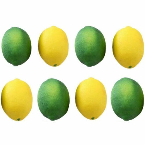 2X 8 Pack Artificial Fake Lemons Limes Fruit for Vase Filler Home Kitchen P E4X9