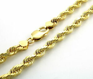 "Genuine 10K Yellow Gold 6mm Wide Italian Diamond Cut Rope Chain Necklace 20""-32"""