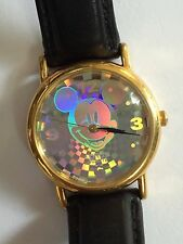 Vintage Disney Lorus Mickey Mouse Watch 3D Hologram Tiffany & Co. Leather Band