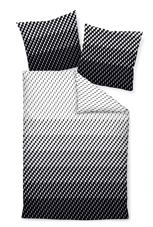 Janine Bettwäsche Set J.D. 87016-08 schwarz weiß Striche geometrisch Mako-Satin | Attraktive Mode