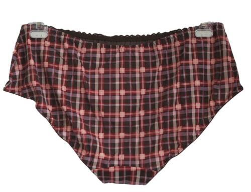 NEU Übergröße 2 Stück schicke Damen Stretch Slips in braun rot kariert Gr.56//58
