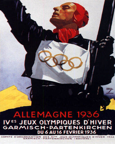 POSTER 1936 WINTER OLYMPIC GAMES GERMANY SKIER ATHLETE VINTAGE REPRO FREE S/H