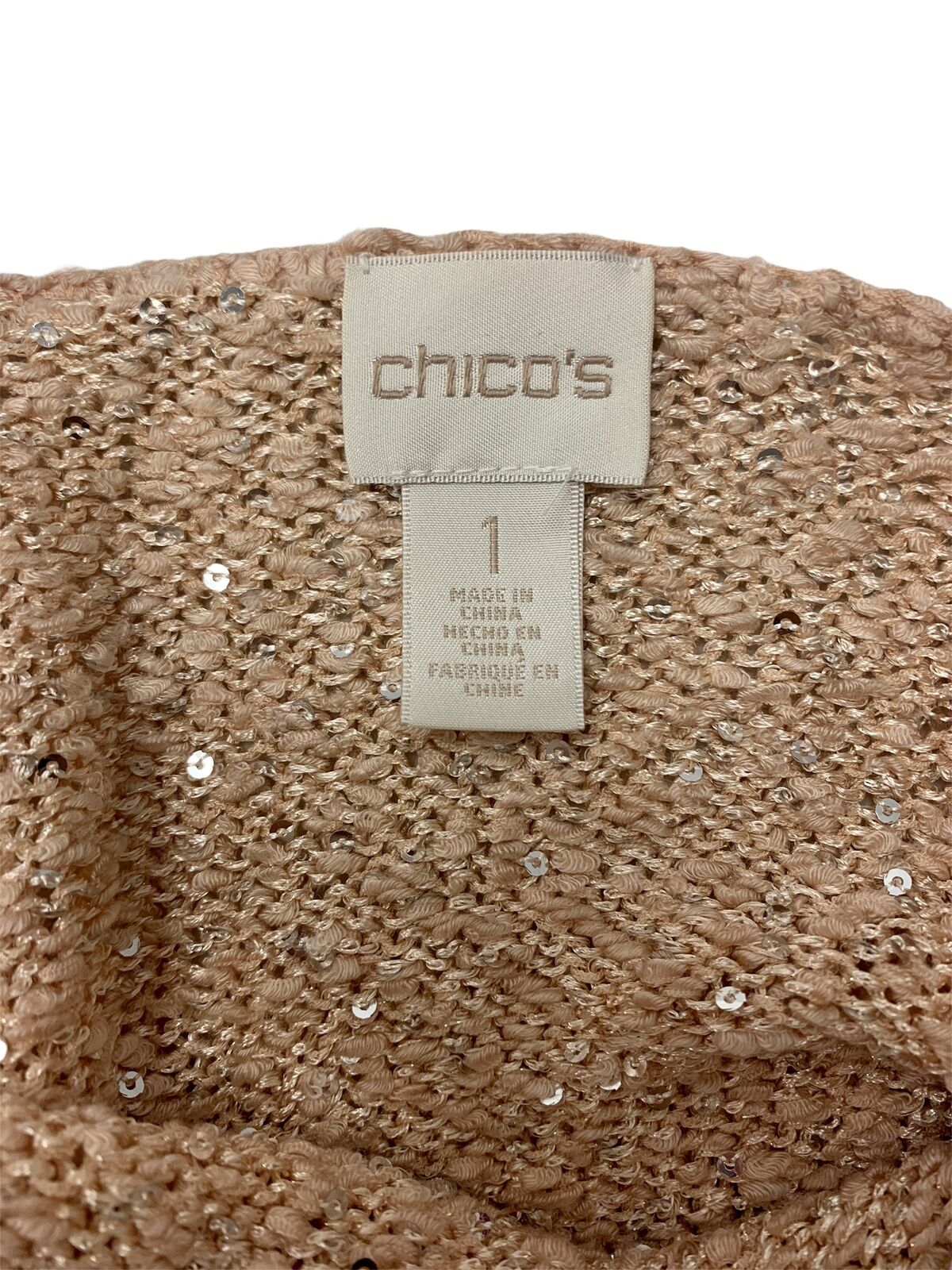 Chico's Sequin Claire Knit Sweater Womens Light P… - image 3