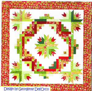 Cactus-Wreath-pieced-quilt-PATTERN-for-2-5-034-strips-Cozy-Quilts-3-sizes