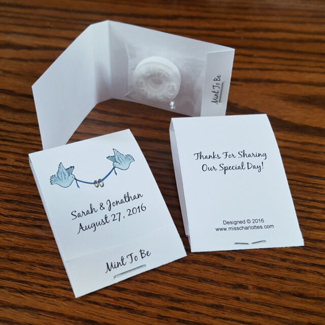 50 Personalized Wedding Mintbook Party Favors Mint Book Matchbook