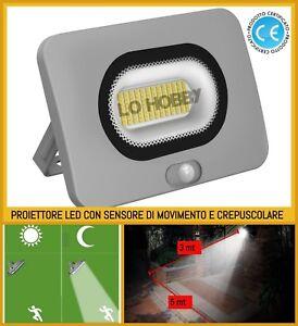 Dettagli Su Faro A Led 10 20 W Faretto Con Sensore Crepuscolare Di Movimento Luce Da Esterno