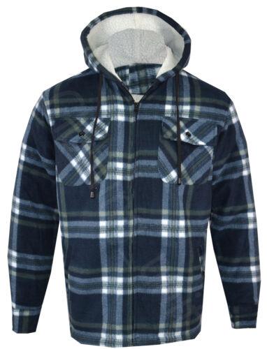 Mens Hooded Fur Lined Padded Fleece Shirt Lumberjack Work Jacket Check M-5XL