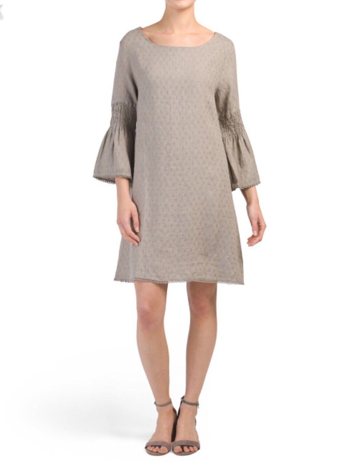 NEW Lungo L'arno Italian Linen Small-Medium Women Dress Bell Sleeves Ivory
