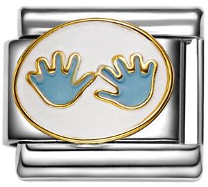 d3f2232c2a2f2 Details about BABY BOY HANDPRINTS Enamel Italian Charm 9mm Charm FA111 Fits  Nomination Classic