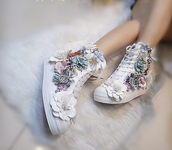 femmes  Canvas Rhinestones 3D Floral Sequins Sport Sneakers High Top Cpmfy  Chaussures