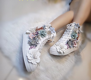 Womens Canvas Rhinestones Floral Sequins Sport Sneakers High Top Shoes Casual Yh