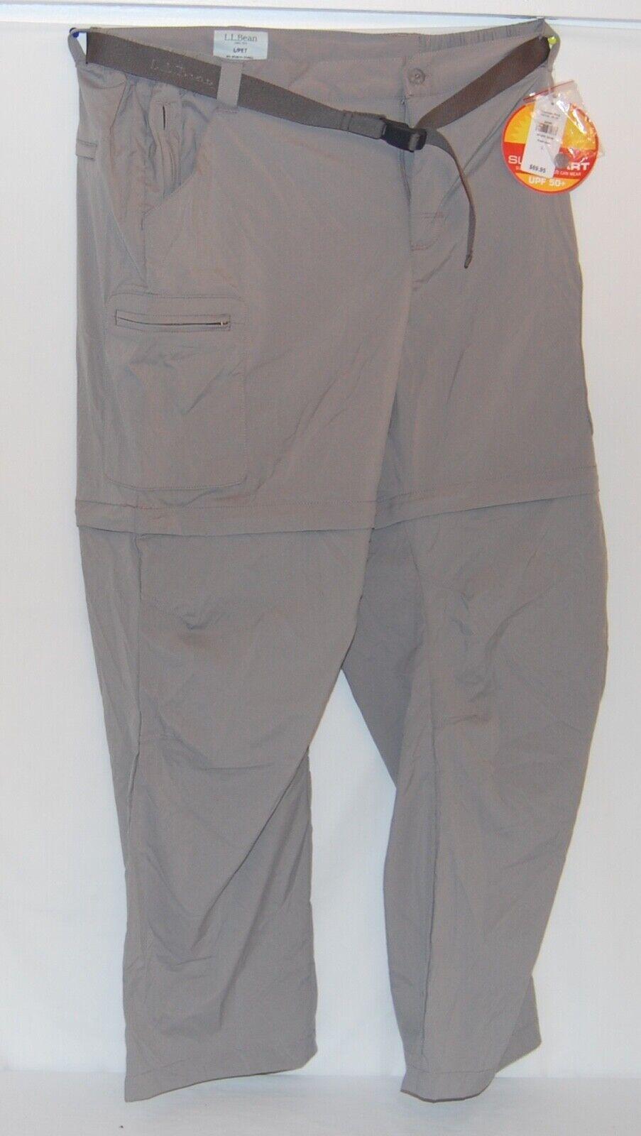 LL Bean Mens Tropicwear Zip-Leg Pants Hiking Camping Large PET UPF 50+ UV Shorts