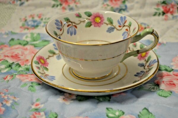 1x Vintage Grosvenor Bone China Tudor Rose Blanco Azul Rosa Taza De Té/platillo A258-ver Refresco