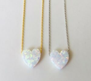 925-Sterling-Silver-18K-Gold-Opal-Heart-Love-Pendant-Necklace-White