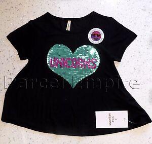 the amazing brush sequin t shirt reversible love unicorns girls top tee gift uk ebay. Black Bedroom Furniture Sets. Home Design Ideas