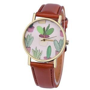 NEW-Women-Casual-Watch-Cactus-Pattern-Leather-Band-Analog-Quartz-Wrist-Watch