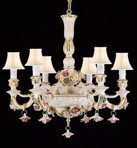 Authentic Capodimonte Porcelain Chandelier Lighting Made