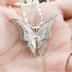 Fashion-Women-Silver-Butterfly-Statement-Bib-Pendant-Necklace-Chain-Jewelry