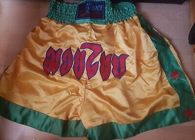 Muay Thai Boxing k1 kickboxing fight gym shorts yellow size small bargain MMA