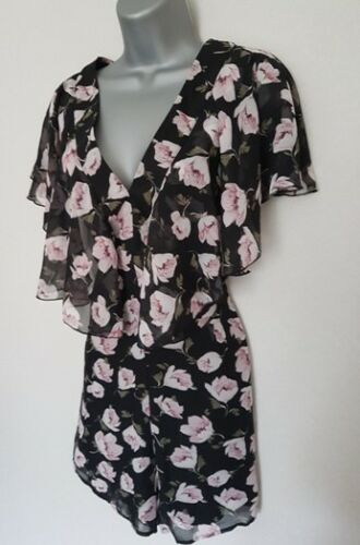 BNWT New LIPSY Black Pink Floral Chiffon Layered Ruffle Short Sleeve Playsuit 16