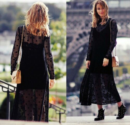 NWT ZARA WOMEN LONG CROCHET LACE MIDI DRESS BLACK REF 2678//241 Size M