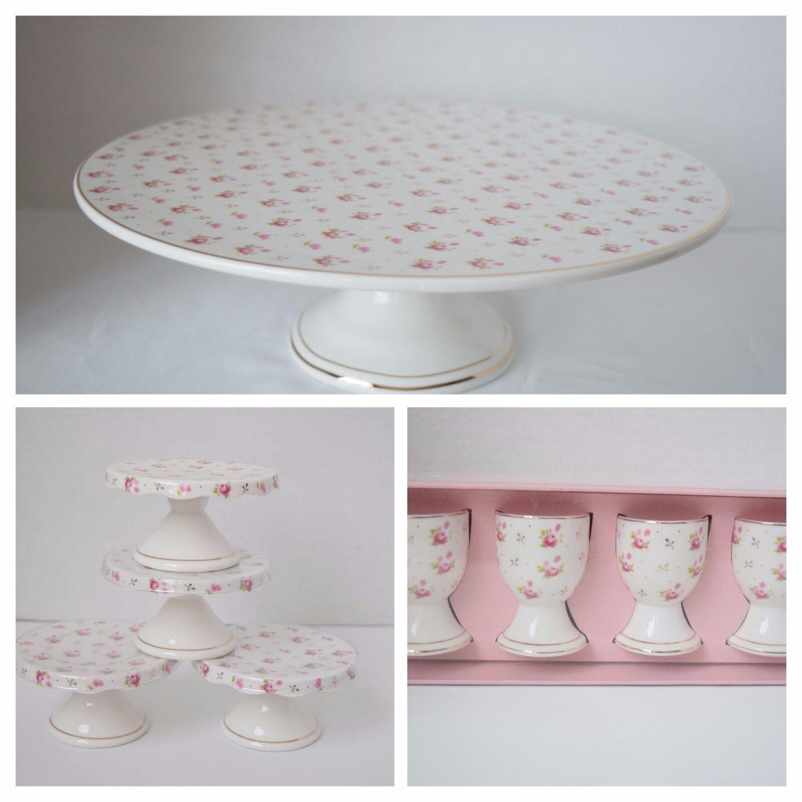 Nouveau GRACE TEAWARE Victorian rose Rose Gateau Cupcake Stand Egg Cup Holder 9 Pieces Set