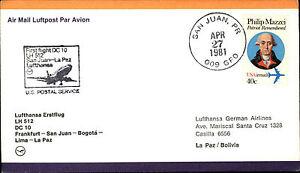 Flugpost-Lufthansa-First-Flight-FRA-San-Juan-La-Paz-Bolivia-Aera-USA-Briefmarke