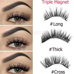 377b9ead067 4 PCS False Lashes Mink Hair 3D Magnetic False Eyelashes Full Strips ...