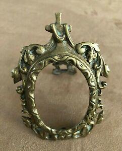 "Victorian Gold tone Easel Picture Frame Brass Ormolu Rococo 1 1/4 x 2 1/2"" mini"