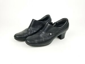 Clarks-Collection-Black-Leather-Slip-On-Loafer-Women-039-s-Shoe-8-5-Free-Shipping