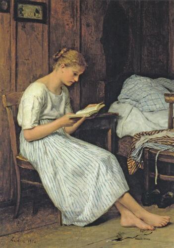 Eine Gotthelf-Leserin Albert Anker Postkarte