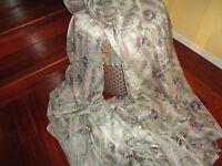 Croscill Chambord Semi-sheer Fabric Floral Amethyst Green 56 X 280 (7.77 Yards)
