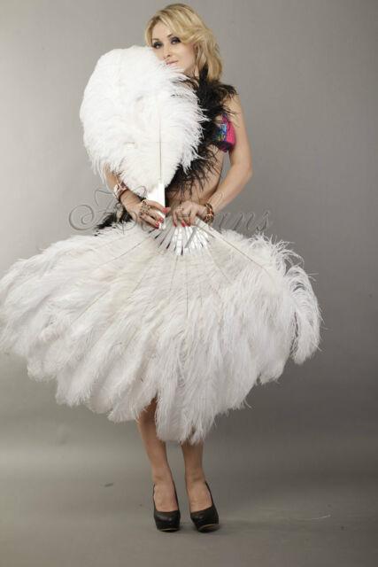 "zzzzzzzz 2 layers Ostrich Feather Fan Burlesque dancer friends 30""x 54"" gift box"