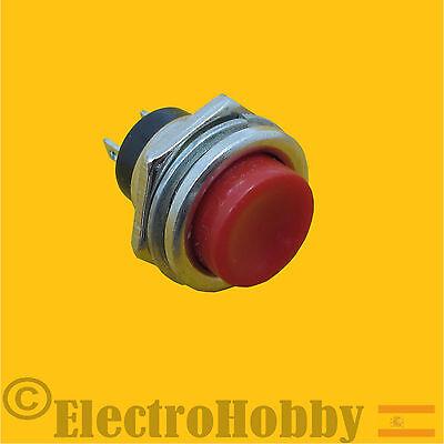 Pulsador 16mm para Panel Rojo Contacto N/A con retorno - Arduino, electronica