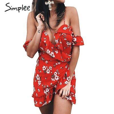 Floral Print V Neck Mini Dress Summer Beach Off Shoulder Ruffles Backless Dress