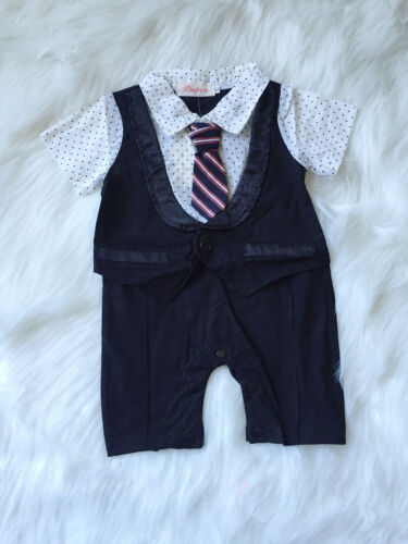 Baby Boy Short Sleeves Formal Real Tie Romper Summer Tuxedo Outfit size 00.0.1.2