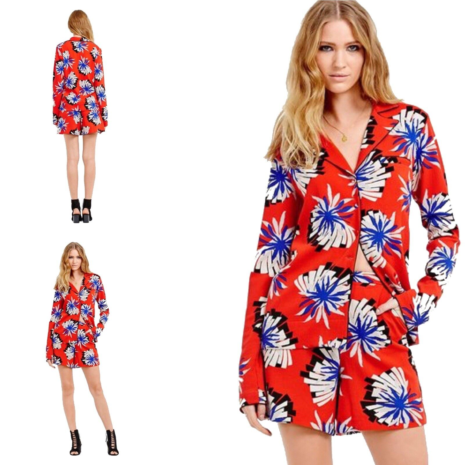 SZ 6 TTYA x LONG TALL SALLY ORIGAMI FLOWER OVER SHIRT + SHORTS 2 PC rot Blau