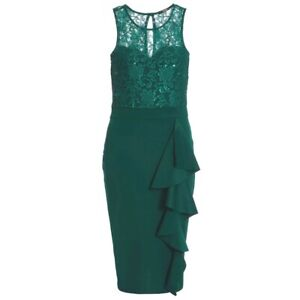 RRP-35-NEW-Quiz-Bottle-green-sequin-lace-frill-dress