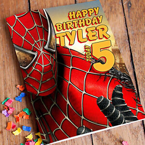 Spiderman personalised birthday card fast 1st class shipping son image is loading spiderman personalised birthday card fast 1st class shipping bookmarktalkfo Gallery