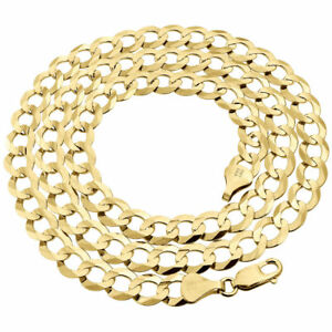 Mens-Solid-10K-Yellow-Gold-Cuban-Curb-Link-Chain-Necklace-8-5-MM-20-30-Inches