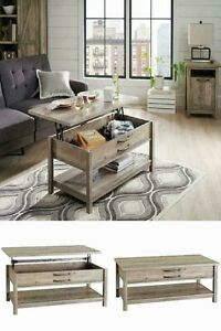 Rustic Storage Coffee Table Lift Top With Shelf Living Room Cottage Wood Gray 732326711987 Ebay