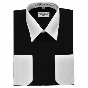 NEW-BERLIONI-ITALY-TWO-TONE-MEN-039-S-DRESS-SHIRT-FRENCH-CONVERTIBLE-CUFF-BLACK