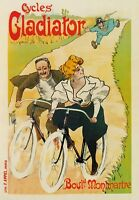 AP21 Vintage French Paris Cycles Gladiator Bike Advertisement Poster Card A5