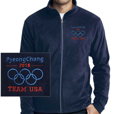 PyeongChang Embroidered  Blue MICRO FLEECE JACKET 2018 OLYMPIC TEAM USA