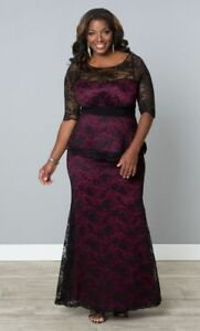 Kiyonna Plus Size Dress Size 1X Black Purple Lace Gown Astoria Lace ...
