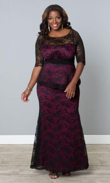 c94ed2e93a3 Kiyonna Plus Size Dress Size 1X Black Purple Lace Gown Astoria Lace Peplum  Style