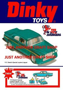 Dinky-Toys-113-Los-Vengadores-Jaguar-Cartel-Tienda-Pantalla-signo-anuncio-Folleto