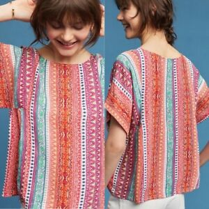 Maeve Anthropologie Milla Colorful Striped Geometric Short Sleeve Top Blouse S