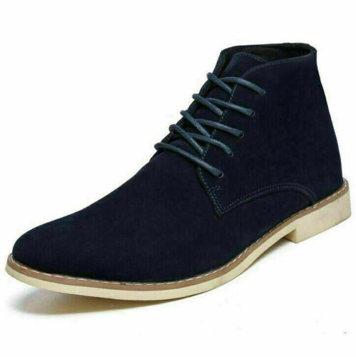 Mens Suede Chelsea Boots Formal Smart Ankle Military Army Casual Lace-Up Shoes